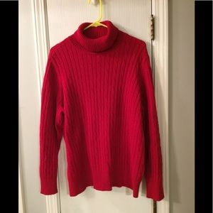 Red Cable Knit Cotton Sweater